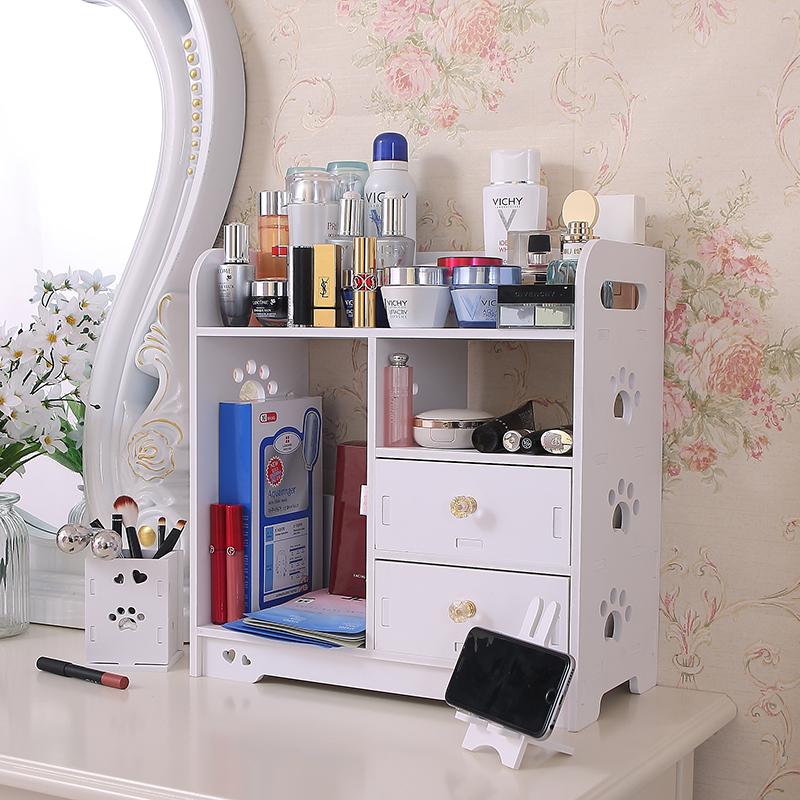 房间桌面置物架收纳盒子托架整理柜办公桌上桌子洗手池三层实木首