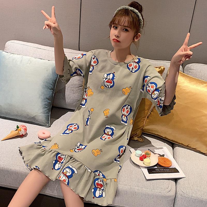 睡衣女夏季韩版睡裙薄款甜美可爱纯棉宽松短袖孕妇中长款家居服