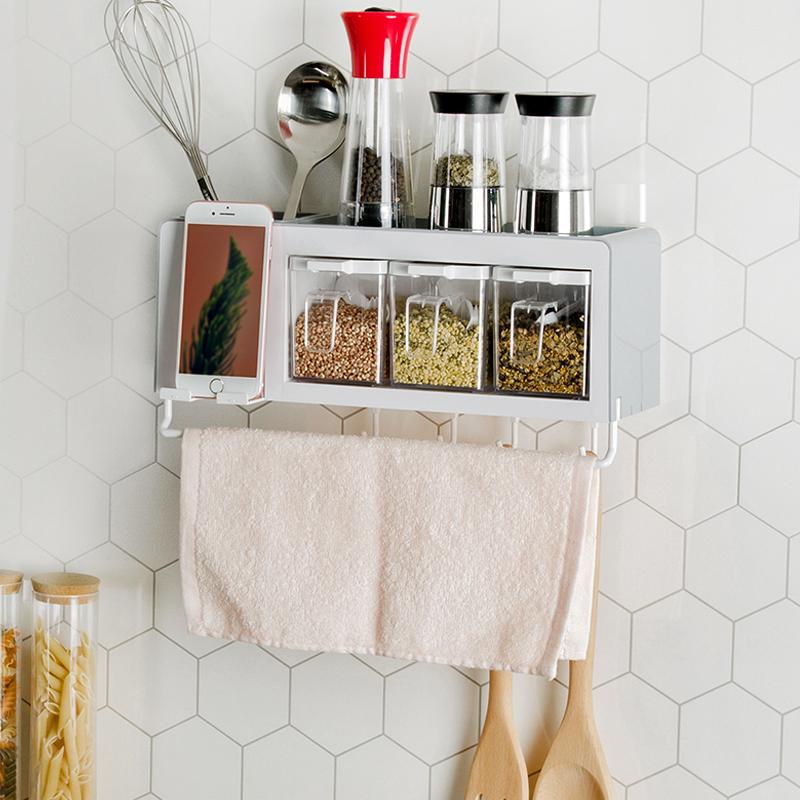 厨房置物架调味料收纳架壁挂调料架子免打孔厨具用品调味品收纳盒买三送一