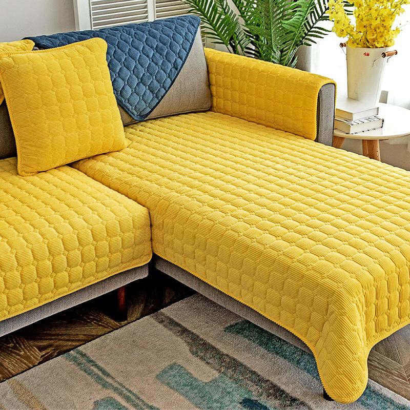 沙发垫四季通用布艺皮防滑北欧坐垫子冬季毛绒套罩靠背巾全盖定做