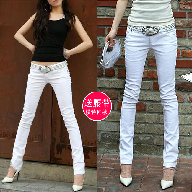 2020秋季中低腰裤女ins超火白色小脚牛仔裤弹力显瘦紧身铅笔长裤