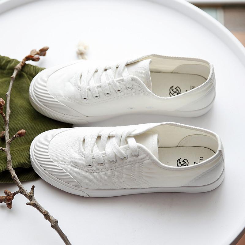 韩版白色帆布鞋一脚蹬夏季新款女鞋