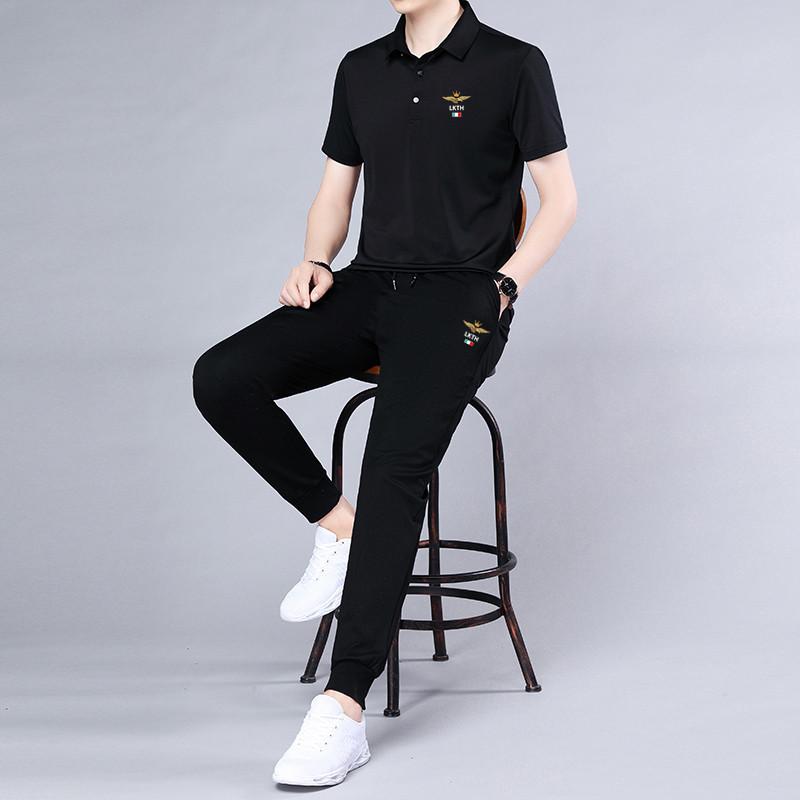 2021 summer new mens casual suit short sleeve Lapel t-shirt mens fashion slim fit two-piece pants