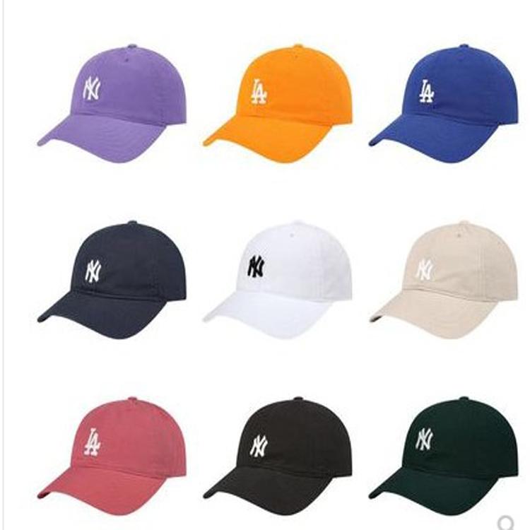 MLB帽子粉紫卡其色软顶小标NY遮阳帽 19春夏蓝LA棒球帽男女鸭舌帽