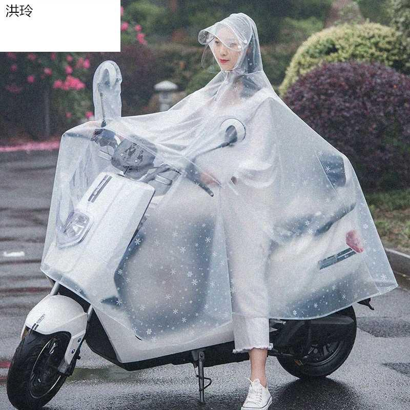 Rain gear transparent and thickened raincoat electric bicycle battery car woman man plastic adult poncho