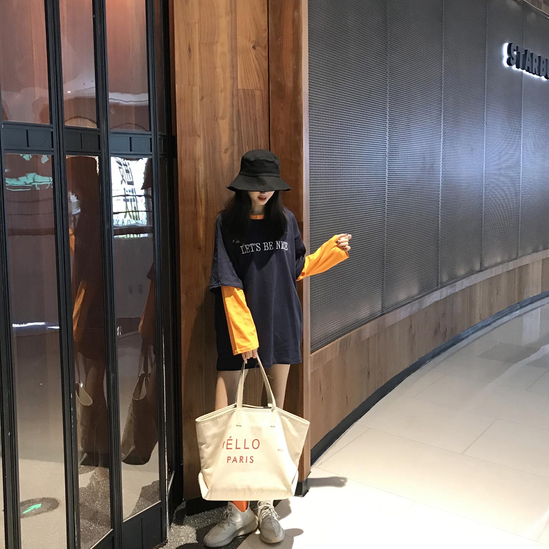 下衣失踪橘色长袖t恤女上衣字母刺绣打底衫韩版拼接假两件t恤宽松