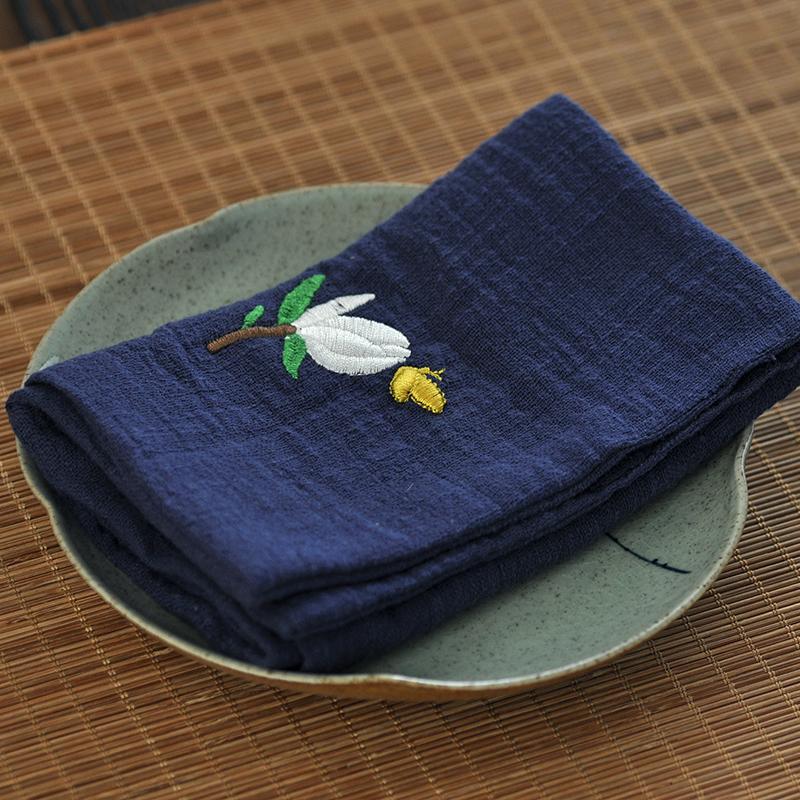 日式禅意吸水快干茶巾茶布洁方壶垫双层棉纱素色简朴特惠包邮