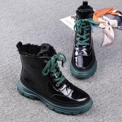马丁靴女英伦风2020欧洲站冬季新款女鞋漆皮羊毛厚底加绒百搭短靴