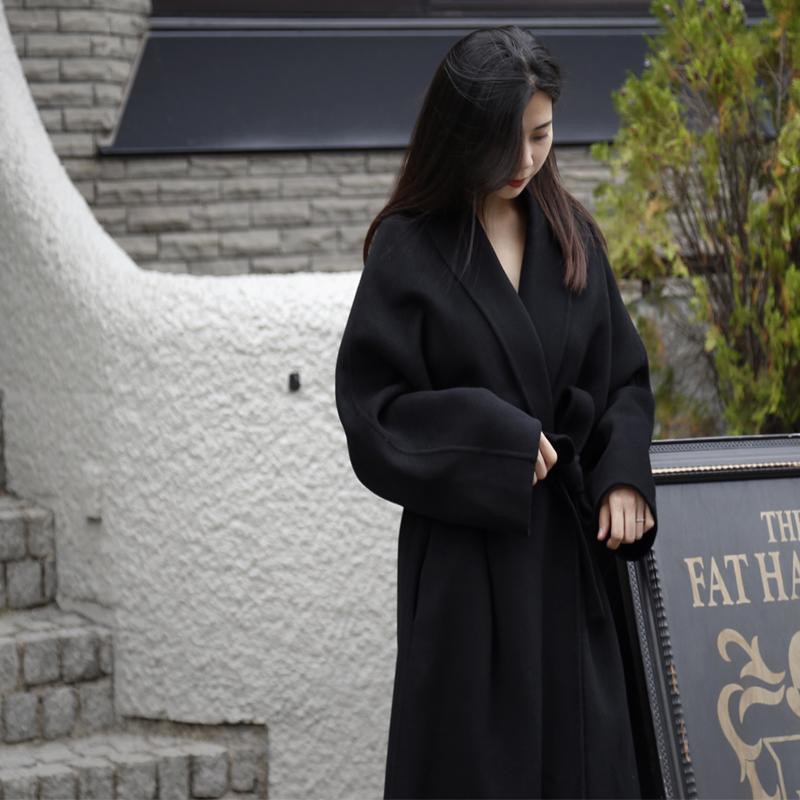 青果领双面羊绒大衣女中长款黑色赫本浴袍式系带澳洲羊毛呢子外套