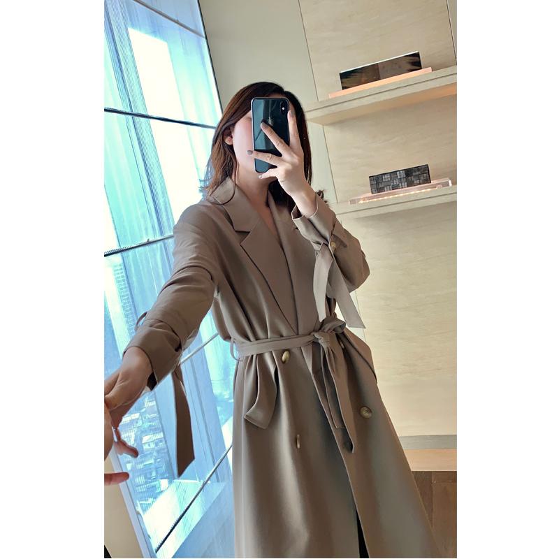 Khaki suit windbreaker coat womens middle long vertical feeling 2019 new small man waist down show thin Korean temperament