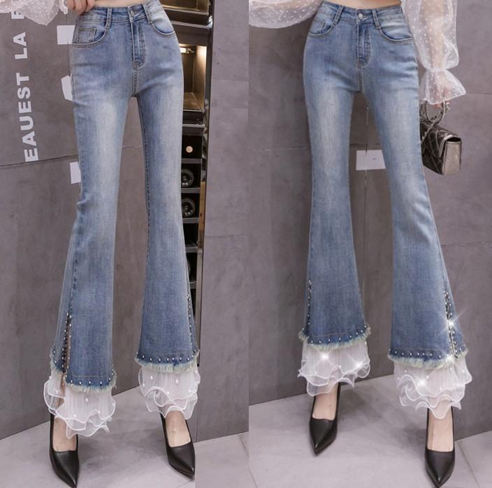 Sweet princess style layers of ruffle mesh stitched denim pants Sen Department rivet pearl micro horn pants women