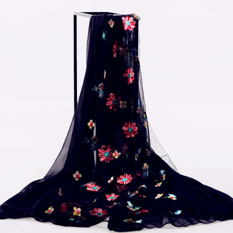 Authentic embroidered silk scarf womens spring and autumn long black embroidered stitched scarf Chiffon versatile sunscreen shawl shawl