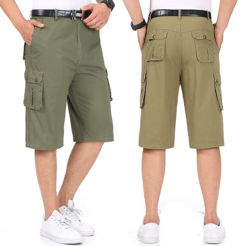 全棉布料半截节50爸爸60七分库55多65岁45中年男人穿40系皮带短裤