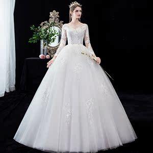 复古宫廷长袖显瘦新娘婚纱 大学生艺考独唱歌唱蓬蓬裙演出礼服女