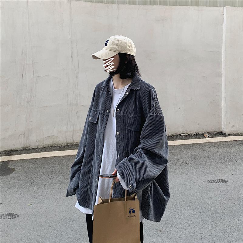 情侣装春装2020新款韩版灯芯绒夹克外套简约百搭W1001--P75