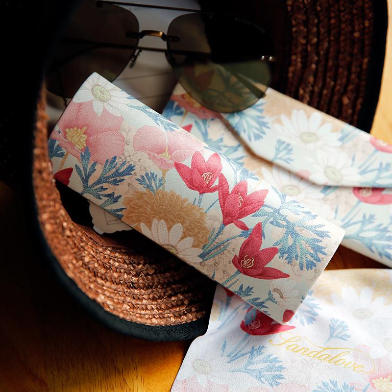 少女花朵女韩国小清新便携墨镜盒折叠眼睛盒折叠眼镜盒眼镜盒ins
