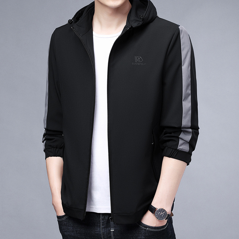 Mens detachable hat color matching zipper middle-aged and elderly hooded business casual jacket coat windbreaker man