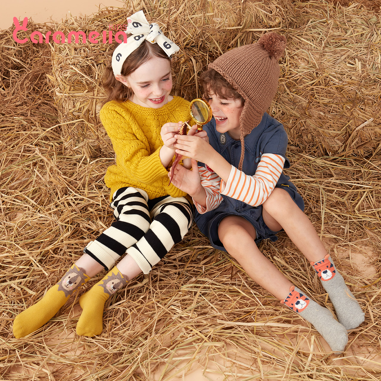 Caramela pure cotton socks children ins spring and autumn tube newborn boys and girls floor socks