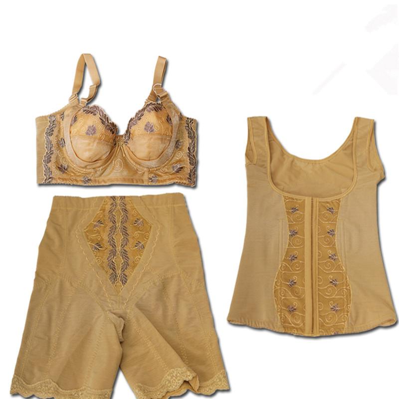 三件套正品中脉拉卡内衣女塑身材管理器美体高腰背夹收腹衣裤提臀