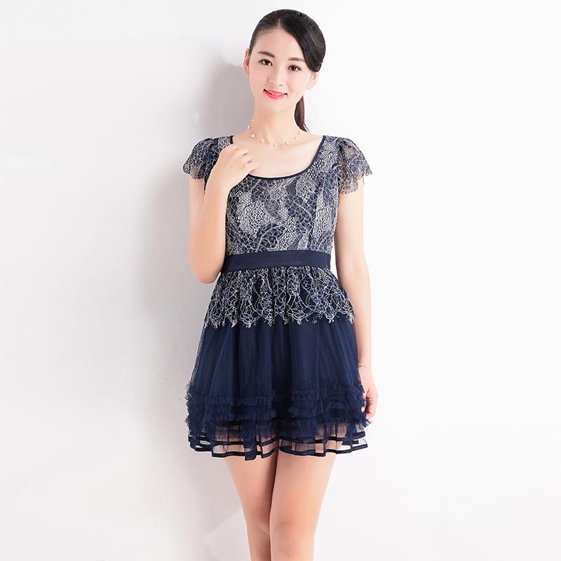 台湾品牌女装夏季新款端庄气质蕾丝拼接连衣裙 短袖系带收腰F5066