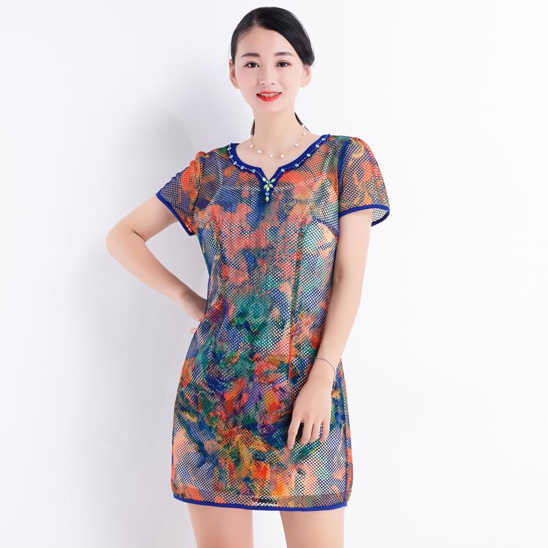 台湾品牌女装夏季新款2018时尚印花网状镂空连衣裙女短袖直筒605P