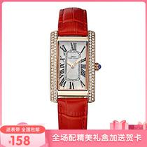 2019新款长方形手表女红色真皮带防水女表时尚潮流白色女士小红表