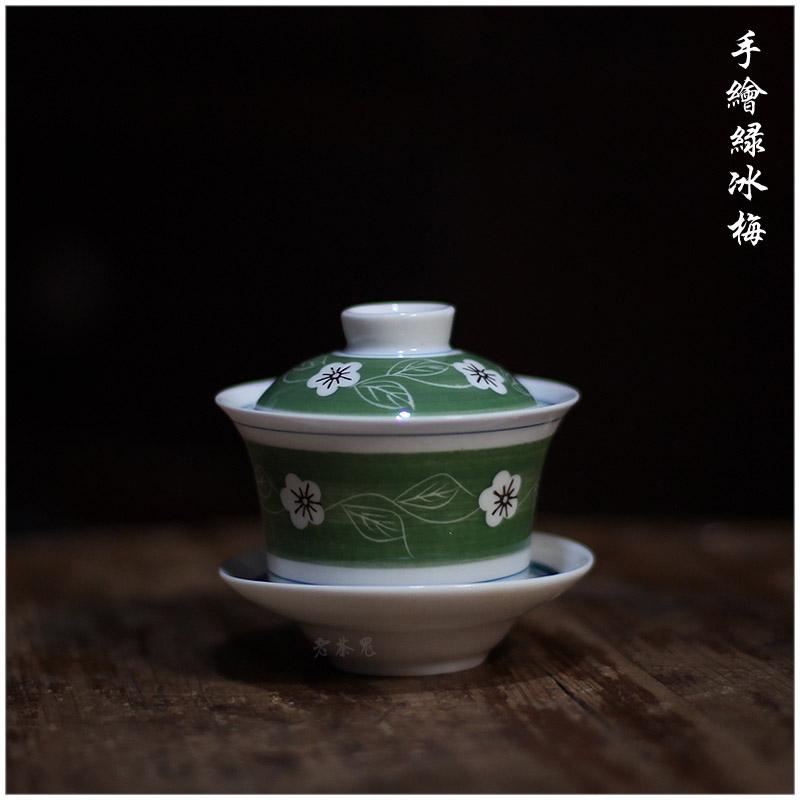 老茶鬼 90年代库存 潮州枫溪绿冰梅手绘盖碗 工夫盖碗 三才碗盖瓯