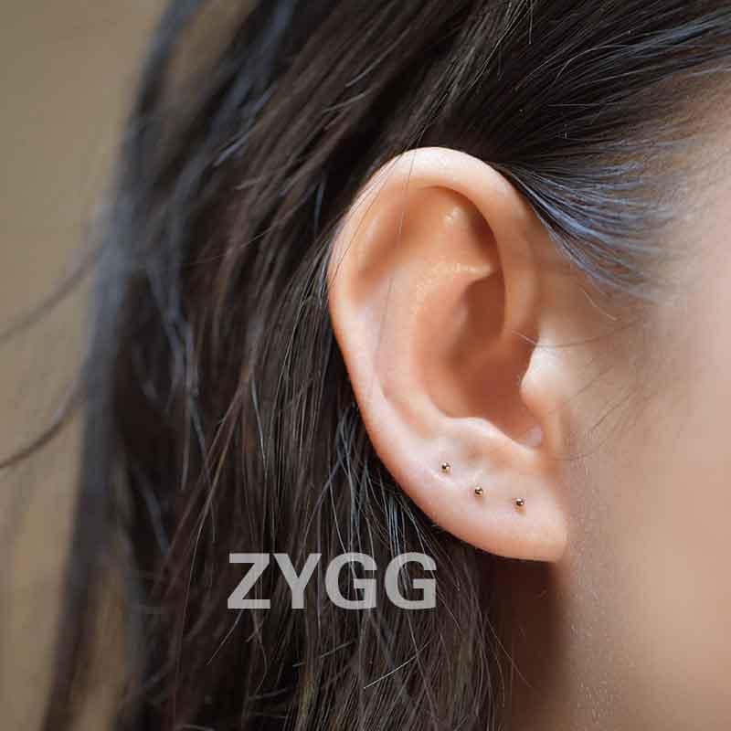 14k包金迷你超小耳钉银耳针养耳棒纯银耳骨隐形耳钉女防过敏耳钉图片