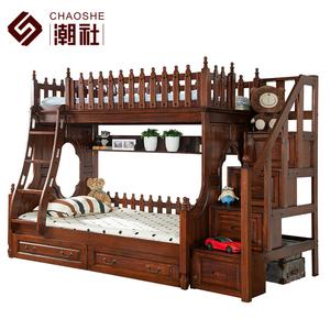美式儿童床上下床实木高低床双层床儿童子母床实木组合床儿童家具