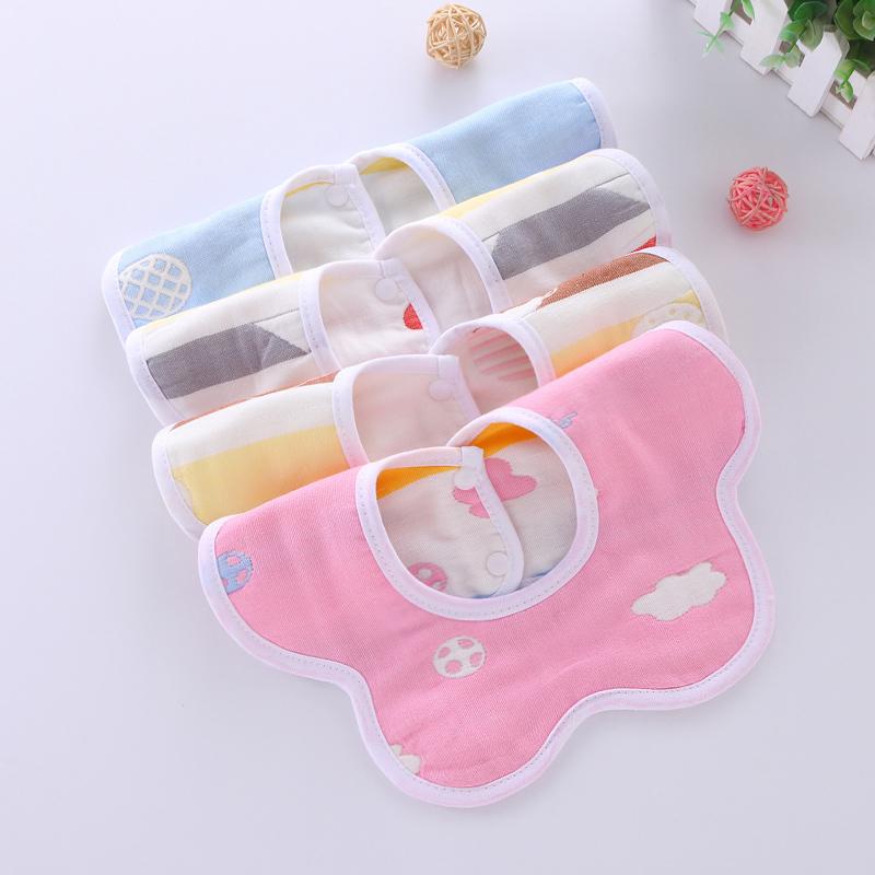 婴儿幼儿纯棉纱布围嘴口水巾围兜360度旋转宝宝饭兜包邮【3条装】
