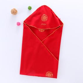 纯棉红色喜庆新生儿包被大红色抱被