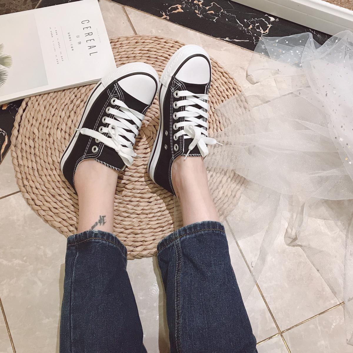 张小笨断码温州鞋不退换圆头系带帆布鞋休闲百搭舒适简约女鞋子