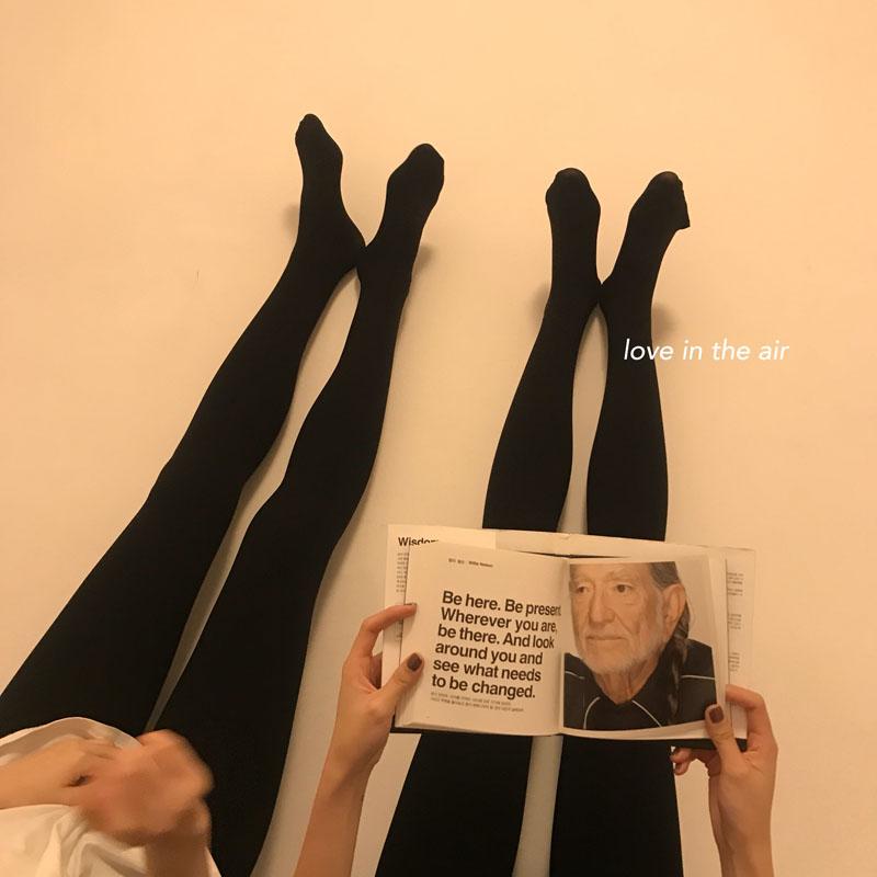 最小的海 小海推荐 秋冬季纯色弹力加薄绒款修身连体打底裤袜女