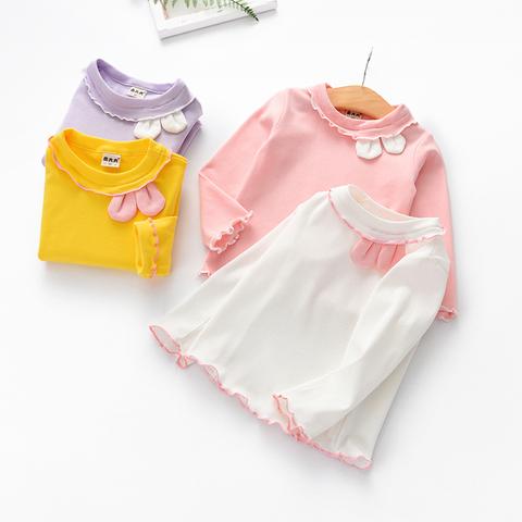 女童长袖打底衫秋装2019新品儿童木耳边上衣可爱女宝宝兔耳朵T恤