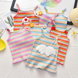 夏季可爱女宝宝吊带衫小女孩针织背心女童新款彩色条纹上衣