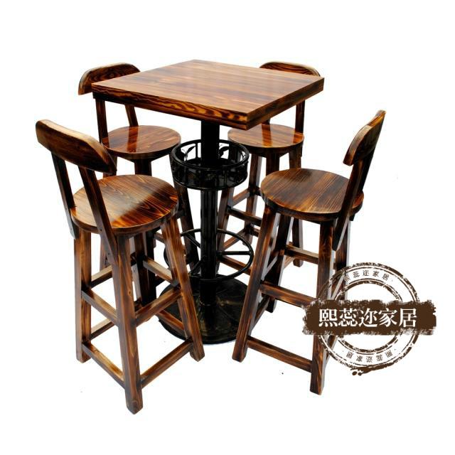 Дерево бар столы и стулья комплект кофе ходули столы и стулья железо бар столы и стулья сочетание деревянный бар табуретка бар стул