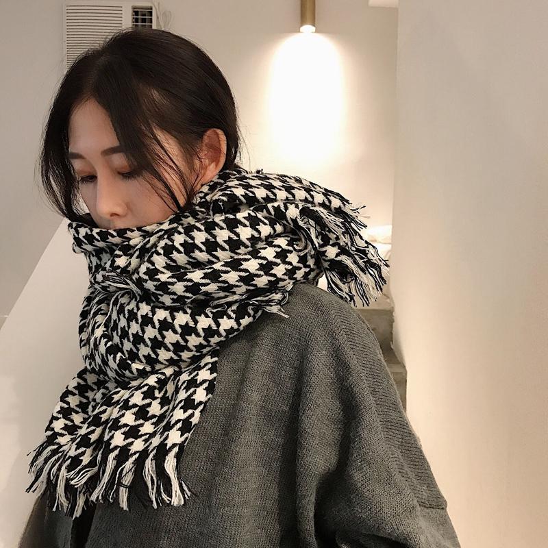 韓版秋冬千鳥格圍巾女雙面仿羊絨黑白格子空調大披肩保暖長款兩用