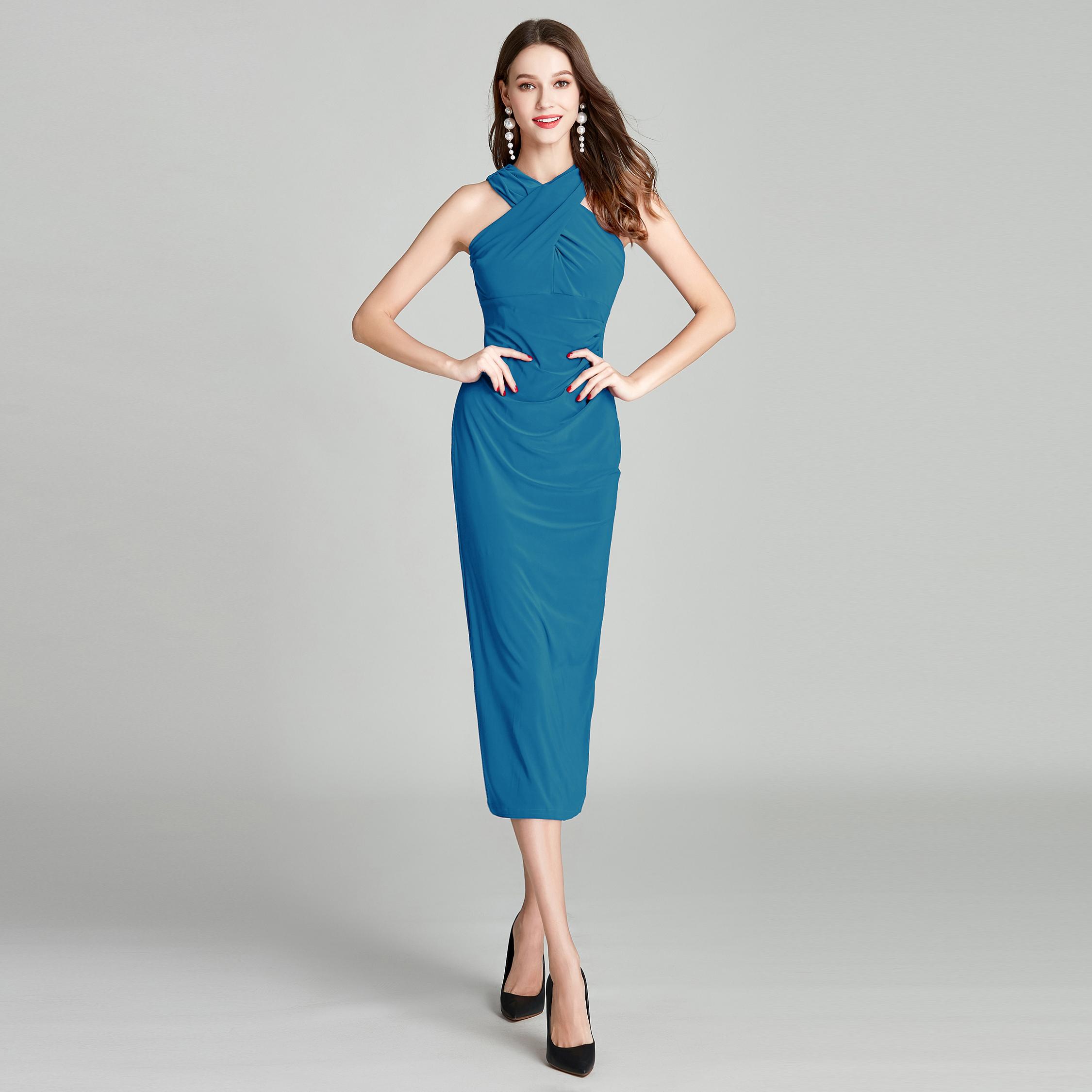 RL欧美设计感交叉镂空露肩修身显瘦开叉晚装礼服连衣裙大码 C746