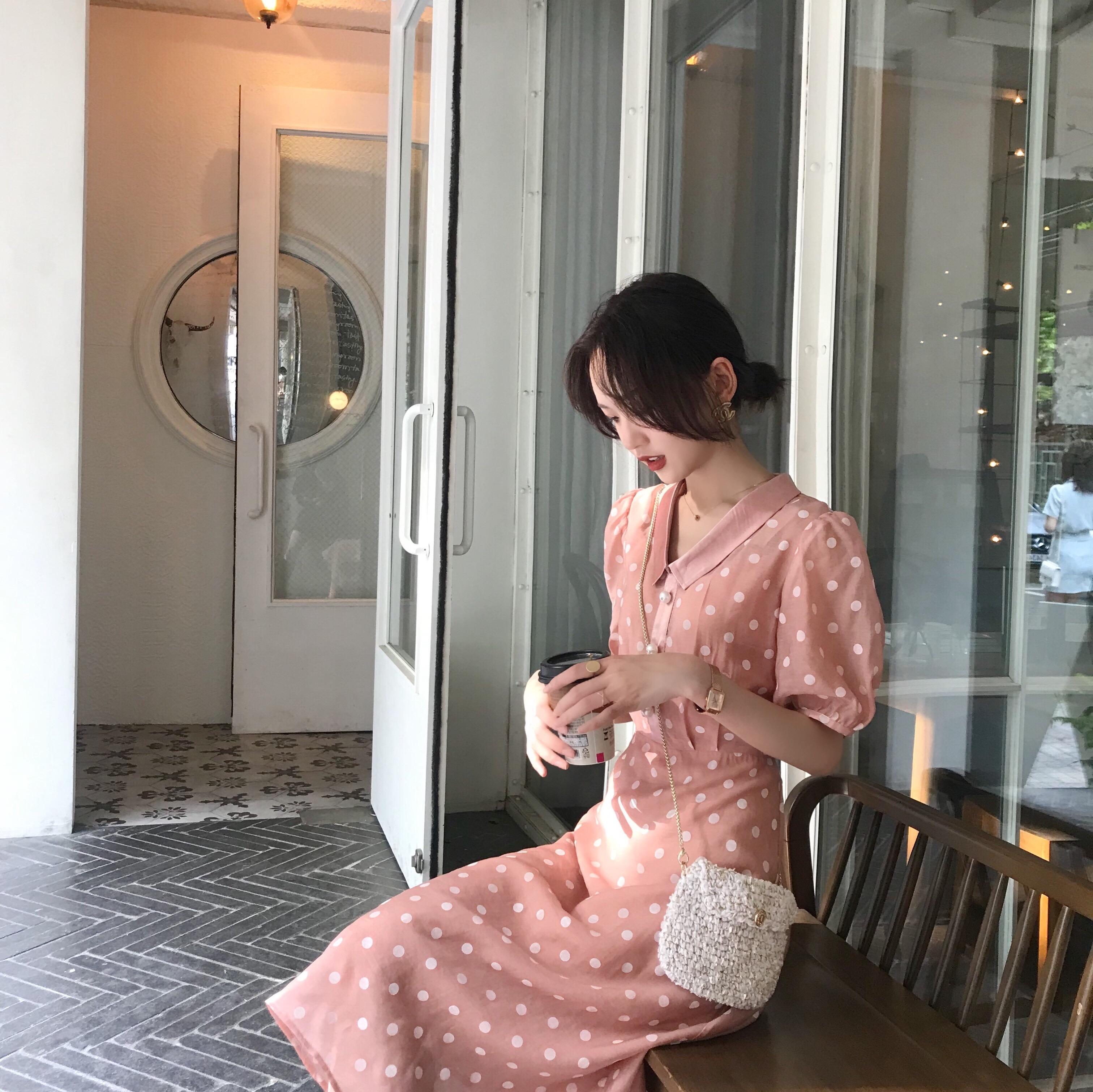 【七折】草莓波点连衣裙女2019夏新款气质中长款短袖长裙短裙L381