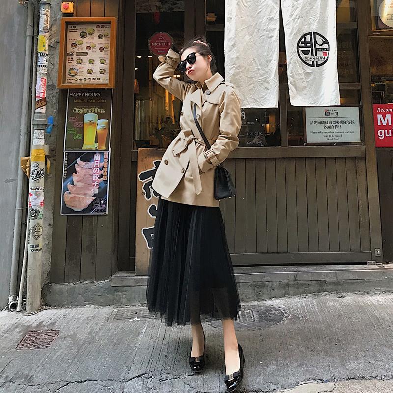 南瓜谷2018新款春秋风衣女英伦风修身系带小个子收腰显瘦短款外套