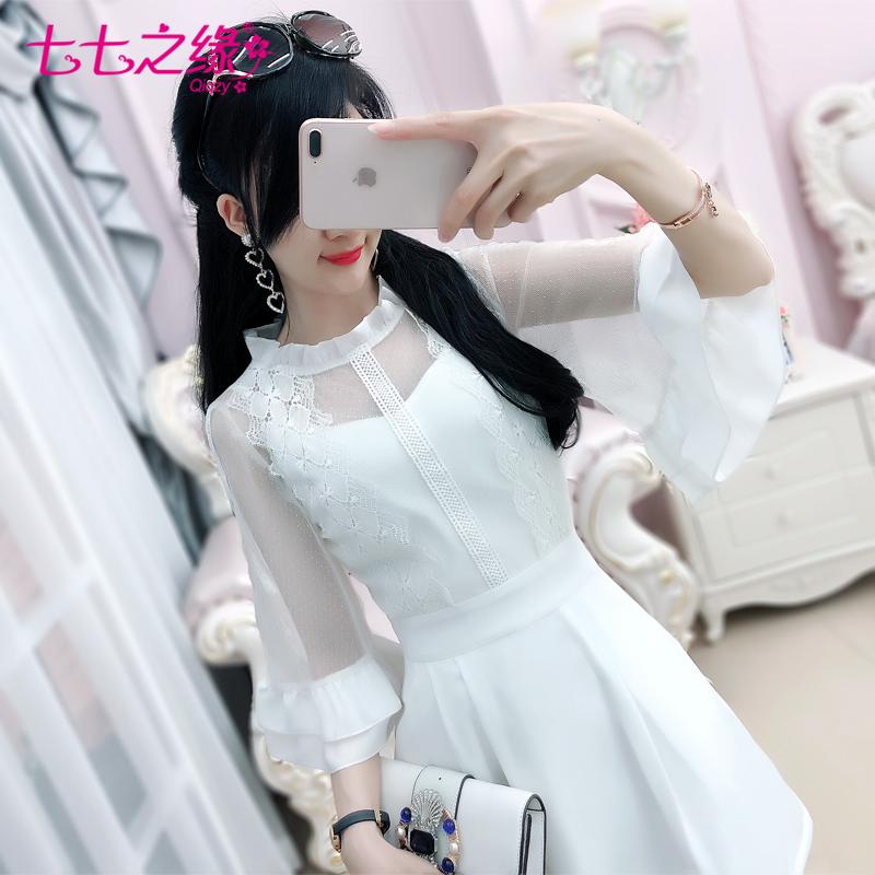 七七之缘2018夏季新品女装韩版 白色蕾丝网纱修身中袖气质连衣裙
