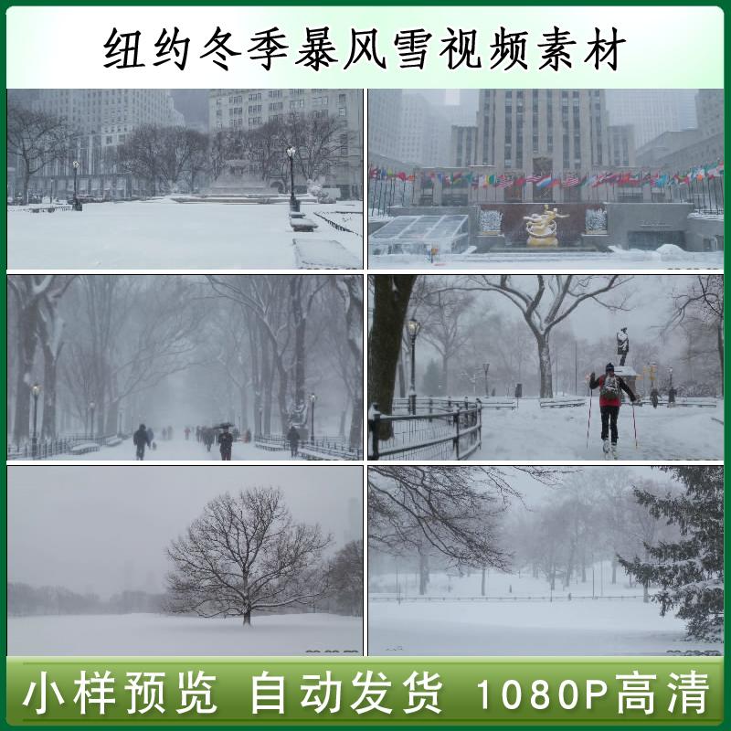 米国ニューヨークの冬のハイビジョンビデオ吹雪の街を行く人たちの寒いハイビジョンの実像素材。