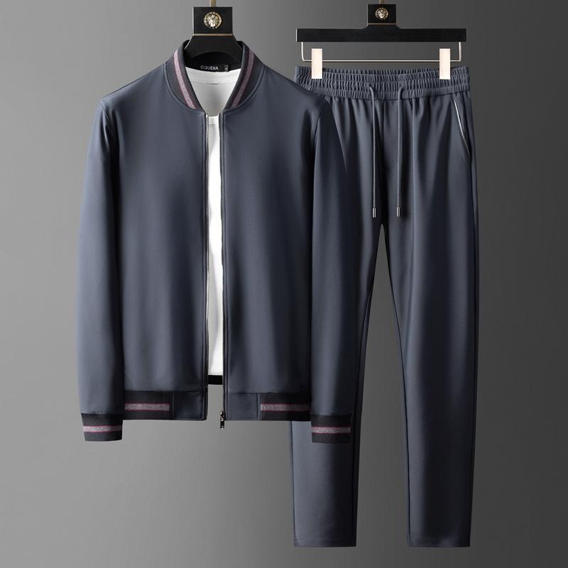 高端帅气型男卫衣两件套速干吸湿透气面料棒球领男士休闲运动套装