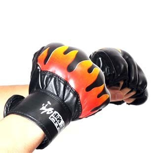 Jin Wang grid flame gloves Sanda fighting Muay Thai drain means half finger gloves male fitness boxing