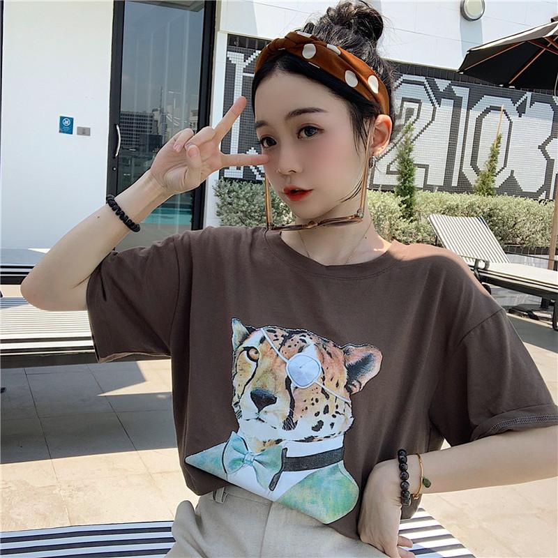 售价不低于28元实拍实价~已检测简约老虎印花短袖T恤