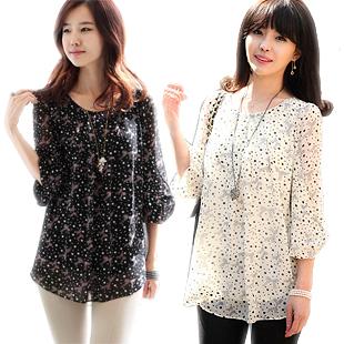 2014 new summer dress Korean women wild round neck loose big yards chiffon shirt sleeve bottoming printing