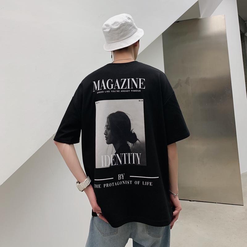 港风男生嘻哈短袖T恤潮流宽松夏季休闲五分袖帅气百搭潮牌上衣服限8000张券