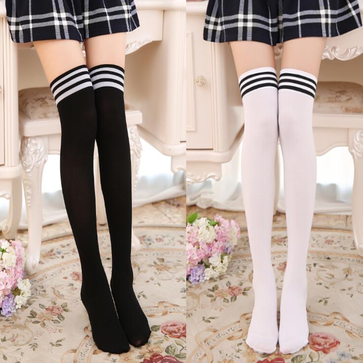Japanese antiskid high tube socks students black and white with bars middle tube socks long tube half thigh silk stockings over knee stockings female