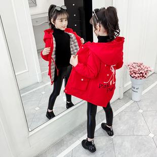 女童风衣外套春秋款韩版女孩秋冬装中大儿童加厚洋气中长款上衣潮