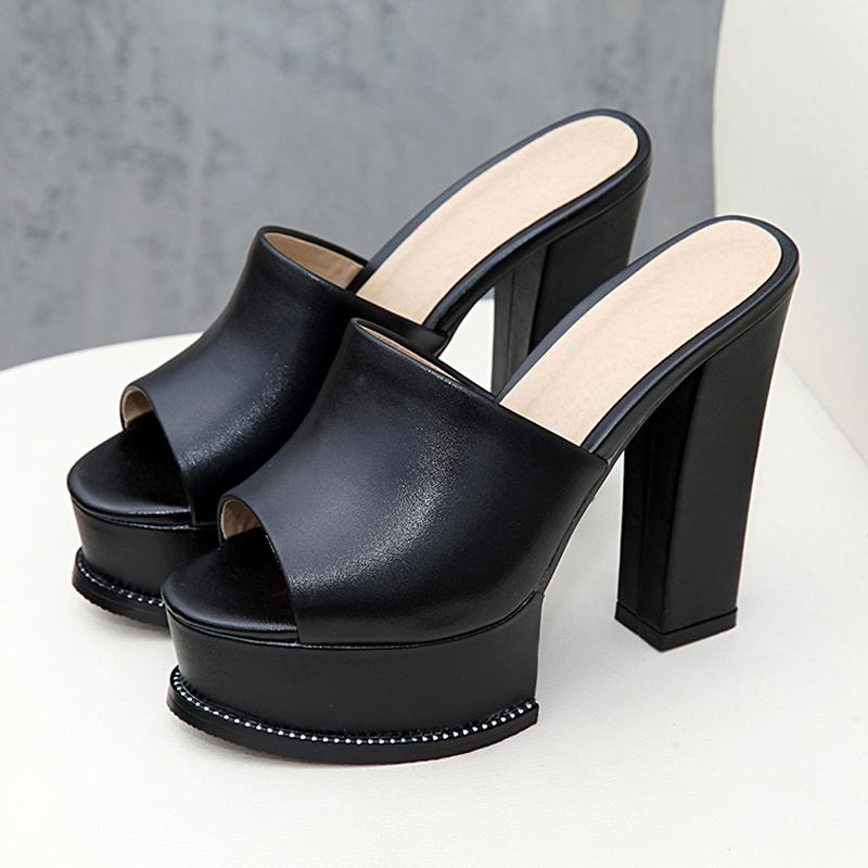性感黑色高跟拖鞋女夏粗跟凉拖女装外穿防水台真皮一字拖试衣鞋白